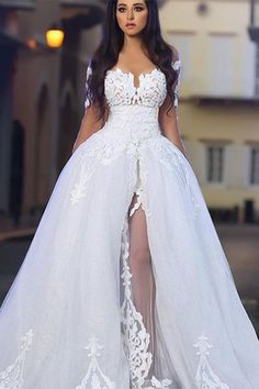 Princess Ball Gown Wedding Dresses, Glamorous White Appliques Bridal Gowns with Overskirt, Wedding Dressses, Top Wedding Dresses, Wedding Dress Accessories, Princess Wedding Dresses, Bridal Dresses, Gown Wedding, Tulle Wedding, Prom Dresses, Formal Dresses