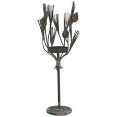 A&B Home Metal/Glass Candle Holder- Set Of 2