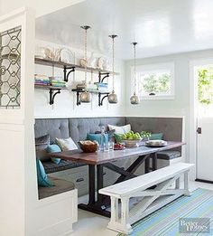 Even the most novice DIYers can create this sophisticated, storage-packed bench. Skip the stock cabinets a cozy breakfast nook