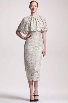 Lace Capelet Midi Dress