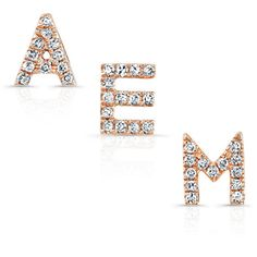 14KT Rose Gold Diamond Initial Stud Earrings ($160) ❤ liked on Polyvore