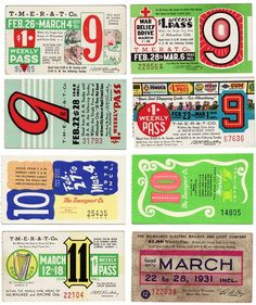 Designer Kindra Murphy came upon a mini collection of weekly Milwaukee, Wisconsin bus passes that date between 1930 and 1979