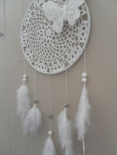 9 White Crochet Doily Butterfly & Hamsa Dream by TheOceanBohemian