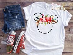 Disney Shirt Floral Mickey and Minnie Mouse Disney Shirt Disney Floral Shirt Disney Trip shirt Disney Vacation Shirts - Fall Shirts - Ideas of Fall Shirts - Disney Vacation Shirts, Disney Shirts For Family, Disney Vacations, Disney Trips, Cute Disney Shirts, Disney Family, Disney World Outfits, Casual Disney Outfits, Disneyland Outfits