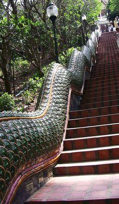 Travel Inspiration for Thailand - Thailand, Chiang Mai -  ,  Wat Phra That Doi Suthep, Nagatreppe hinauf zum Tempel