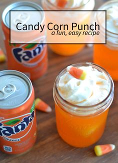 Candy Corn Punch recipe made with orange juice- pineapple chunk-ice cubes and Orange Soda.| nelliebellie.com