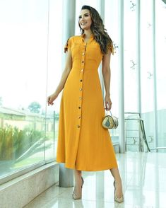 Stylish Dresses, Simple Dresses, Skirt Outfits, Casual Outfits, Modest Church Outfits, Hijab Fashion, Fashion Dresses, Bow Skirt, Orange Dress