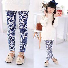 72932eee74180b 2-14Y Baby Kids Girls Leggings Pants Flower Floral Printed Elastic Long  Trousers | eBay