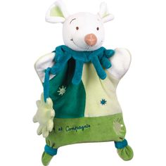 Le doudou marionnette souris verte par Doudou & Compagnie servira de doudou pour s'endormir et de marionnette pour inventer des histoires et les jouer devant papa et maman.