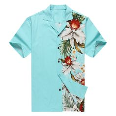 Made in Hawaii Men's Hawaiian Shirt Aloha Shirt Side Floral Orchid Turquoise