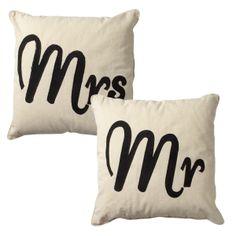 Mr & Mrs cushions from Transomnia