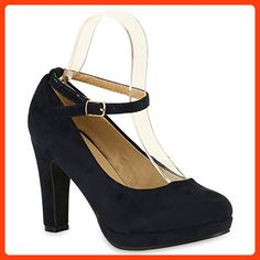 Damen Pumps T-Strap Spitze High Heels Riemchenpumps Stilettos Zierperlen Nieten Blockabsatz Schuhe 137545 Dunkelblau Autol 41 | Flandell®