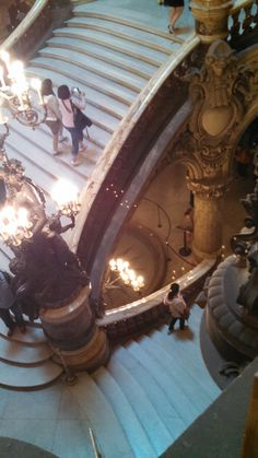 Looking down the grand staircase