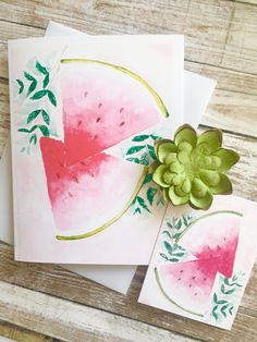 Greeting card watercolour  + matching gift tag. Pretty pink watermelon + mint Watercolor Cards, Watercolor Illustration, Watercolour, Watermelon Mint, Matching Gifts, Sell On Etsy, Note Cards, I Card, Pretty In Pink