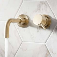 Crosswater MPRO Wall Mounted Basin Mixer Tap - Brushed Brass :) Visit us at www.ie to view our Crosswater Mpro range! Bathroom Basin Taps, Brass Bathroom, Basin Mixer Taps, Minimal Bathroom, Sink Taps, Modern Bathroom, Concrete Bathroom, White Bathrooms, Bathroom