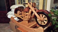 This rocker is made of pine with a 2x12 core and 1x12 layers biscuit jointed pin nailed and doweled to make this rugged and will last as a