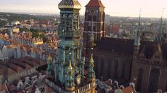 Gdańsk z lotu ptaka / Gdansk from above Poland Motion Photography, Danzig, Cities In Europe, Eastern Europe, Big Ben, Poland, City, Building, Destinations