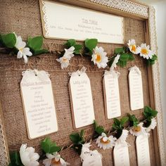 Rustic daisy/hessian seating plan from a recent wedding. The tables were named after types of tea. We've put together more rustic ideas for your seating plan on our blog http://www.toptableplanner.com/blog/a-rustic-country-wedding-table-plan