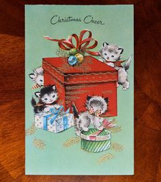 Vintage Unused Embossed Gold Christmas Card Cats Kittens Playing Box Cat Kitten   eBay