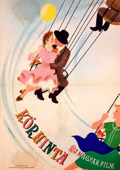 """1956 poster for the Hungarian film, """"Merry-Go-Round."""""""