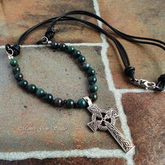 Mens Necklace Celtic Trinity Knot Cross with by mamisgemstudio, $59.95