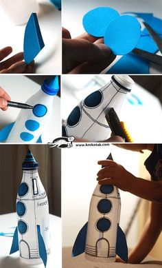 all white party Plastic bottle rocket.as a piggy bank! This would be perfect for learning about the space coast. We would need to paint the bottles white with acrylic paint ahead of t Kids Crafts, Creative Crafts, Diy And Crafts, Recycled Crafts Kids, Plastic Bottle Crafts, Plastic Bottles, Soda Bottle Crafts, Recycled Bottles, Diy Rocket