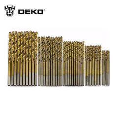DEKO tool 50Pcs Titanium Coated HSS High Speed Steel Drill Bit Set Tool 1/1.5/2/2.5/3mm