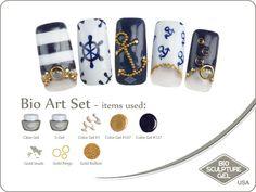 Nautical art set Bio Sculpture Nails, Sculpture Art, Bio Art, Nautical Art, Gold Bullion, Gel Color, Nail Art Galleries, Gold Studs, Summer Nails