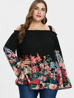 7a4beb6964 Wipalo Plus Size 5XL Floral Print Flare Sleeve Cold Shoulder Blouse Casual  Ruffle Trim Long Sleeve Square Neck Blouse Ladies Top
