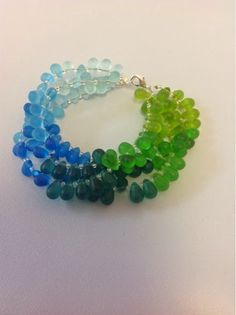 This pretty bracelet has colors that remind me of the ocean and being on the beach. The finish on the beads is like seaglass, to add to the ...