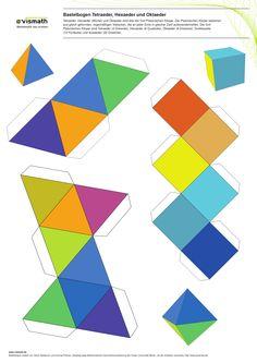 Bastelbogen für Tetraeder, Oktaeder und Würfel