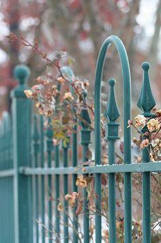 Beautiful aqua fleur de lis fence.