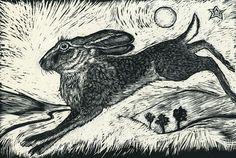 Hare on the hill Fine Art Print from original Scraperboard.
