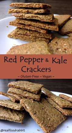 Red Pepper & Kale Crackers (Gluten-Free, Vegan)