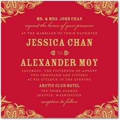 An Asian inspired wedding invitation featuring  traditional red and gold detailing, and a woodcut design. Find more unique wedding invitations, save the dates, and reception stationery at www.weddingpaperdivas.com.