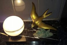 Art Deco French Side light with a Swallow on marble bases frosted glass globe