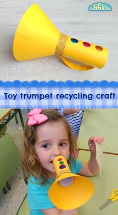 Recycle that old kitchen roll or paper towel tube to make this fun toy trumpet! … Recycle that old kitchen roll or paper towel tube to make this fun toy trumpet! A great craft for little ones to make and play with afterwards! Toddler Crafts, Preschool Crafts, Diy Crafts For Kids, Toddler Activities, Fun Crafts, Kids Diy, Paper Craft For Kids, Decor Crafts, Preschool Music Activities