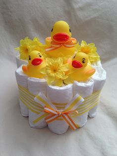 Baby Boy or Girl Diaper cake One Tier neutral by SquirmyWorms, $25.00