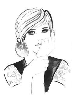 Imprimer à partir d'originaux aquarelle mode Illustration moderne Art peinture noir et blanc intitulé Let My Dreams Come True