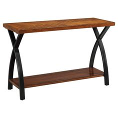 Console Table With A Wood Grain Top And X Shaped Wrought Iron Legs Product