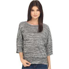 Bench Veer Overhead Pullover Sweatshirt (Jet Black) (25 NZD) ❤ liked on Polyvore featuring tops, hoodies, sweatshirts, black, three quarter sleeve tops, 3/4 sleeve tops, 3/4 length sleeve tops, scoopneck top and boxy top