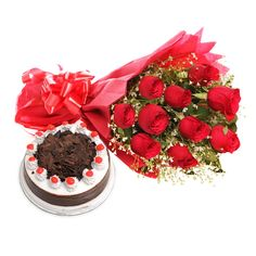 Check out our New Product  My Sweet Bouquet No Flower COD Bunch of red roses with red ribbon bow and half kg blackforest cake.  Rs.1,380