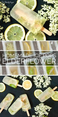 Delicious and homemade elderflower ice pops with lemonslices and mint.