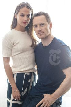 "Michael Fassbender, right, and Alicia Vikander, the stars of Derek Cianfrance's new film, ""The Light Between Oceans,"" in New York, July 24, 2016. (Bryan Derballa/The New York Times). -"