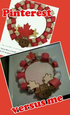 Canada Day Moose Wreath - Was a little too much for my 3 4 year old but was a perfect project for my 6 year old and its super adorable. Linked to the site I used Kindergarten Crafts, Preschool Art, Craft Activities For Kids, Crafts For Kids, Summer Activities, 2nd Grade Christmas Crafts, Canada Day Fireworks, Canada Day Crafts, Canada Day Party