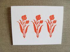Letterpress - Marigold orange summertime flowers folded card