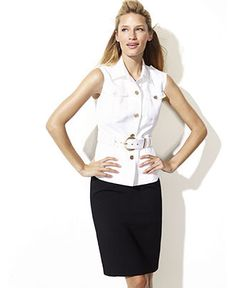 Calvin Klein Jacket, Sleeveless Belted Button Front