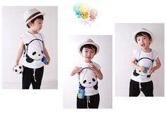 Free Shipping Panda Tshirts Boys Cartoon Summer Tops K0485
