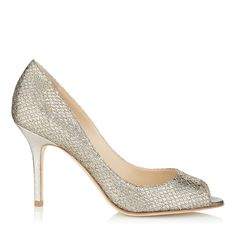 Champagne Evening Shoes | Designer Peep Toe Shoes | Evelyn | JIMMY CHOO