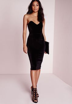 Velvet Bandeau Bodycon Dress Black